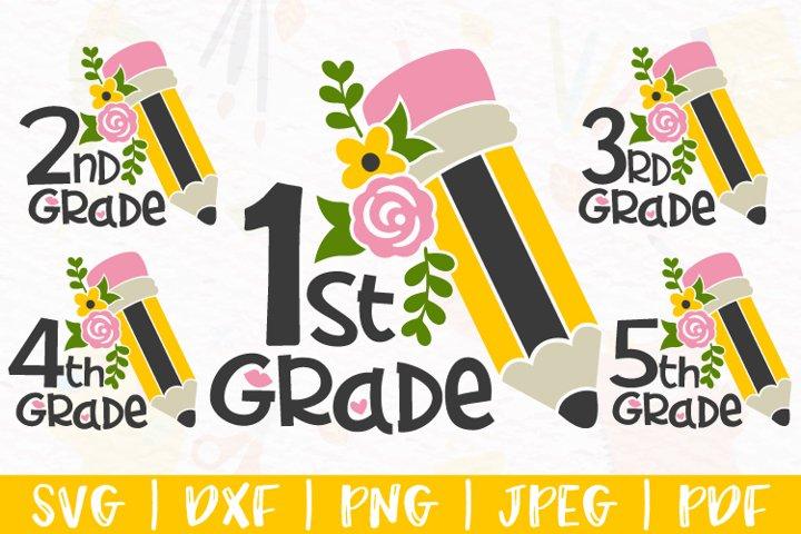 School svg, Floral Pencil svg, Back to School svg, dxf, png