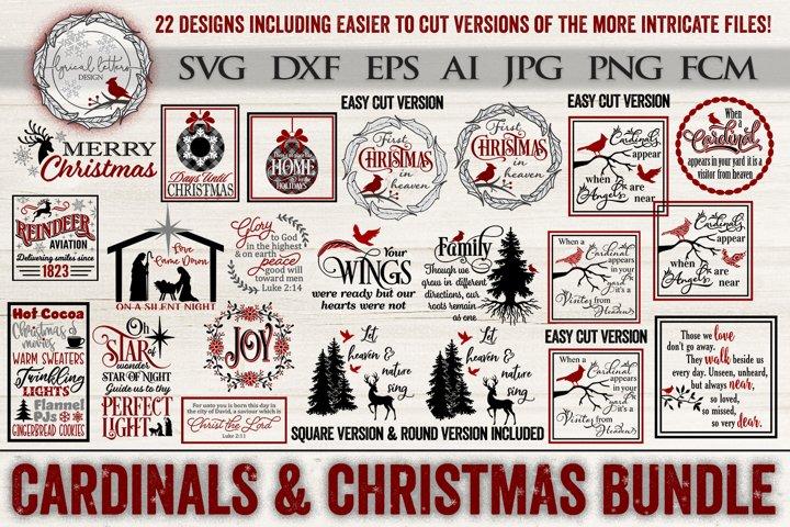 Cardinals & Christmas Bundle of 22 SVG DXF FCM Cut Files