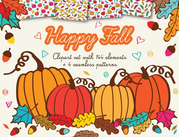 Happy Fall Clipart with acorns, leafs and pumpkins + 4 Autumn Background Patterns