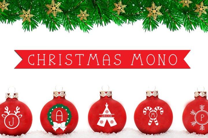 Christmas Mono, a font with frames of Christmas monograms