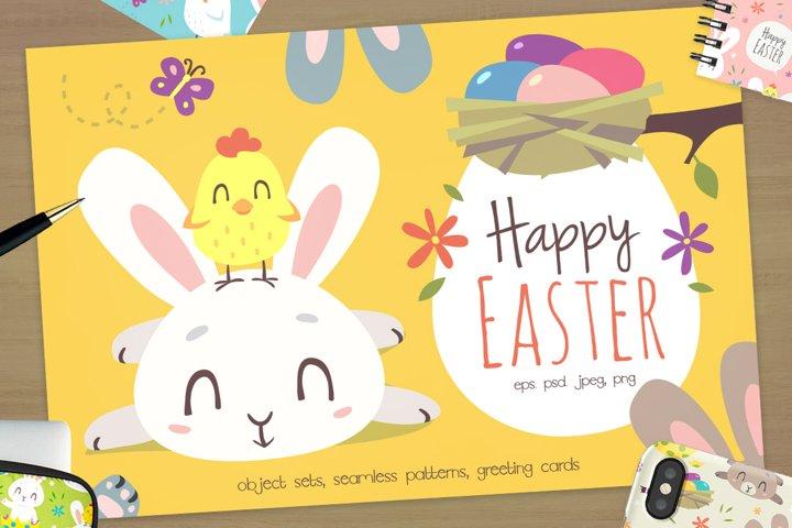 Easter Bunny Cartoon Set