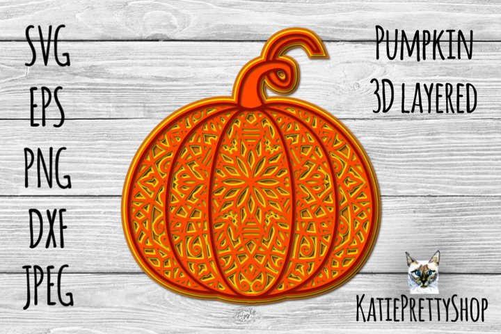 3d layered pumpkin, fall multilayered cut file, autumn svg