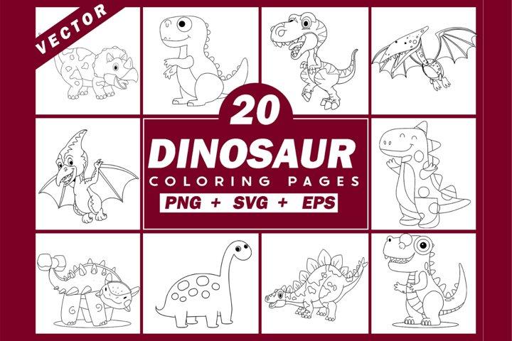 20 Dinosaur Coloring Pages | Dinosaur Svg Clipart Bundle