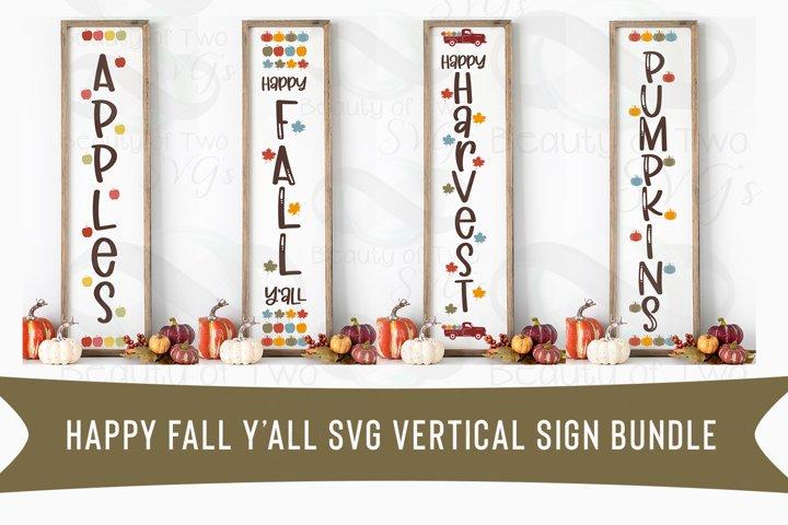 Happy Fall Yall Vertical svg Sign Bundle, 4 Fall Farmhouse