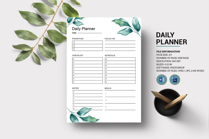 Daily Planner Template, Photoshop & Ms Word Template