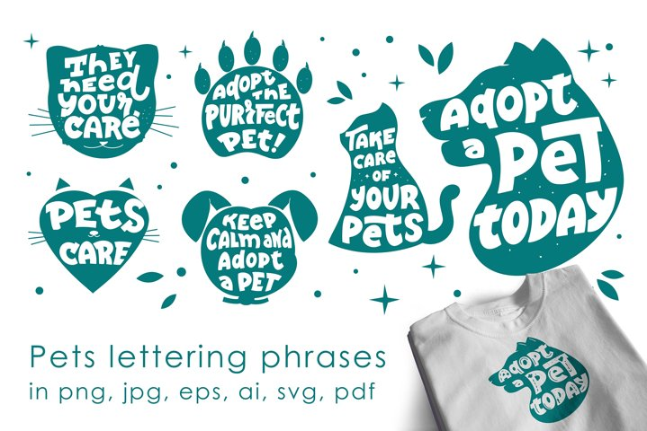 Pets slogans, logos set