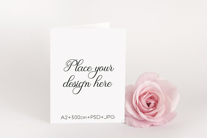 A2 Greeting Card psd Mockup vertical standing invitation