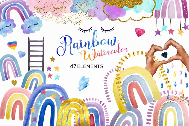 Cute Watercolor and Gold Rainbow