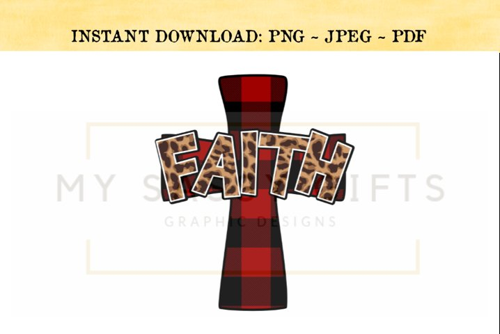Faith Leopard Print and Cross Buffalo Plaid Print PNG