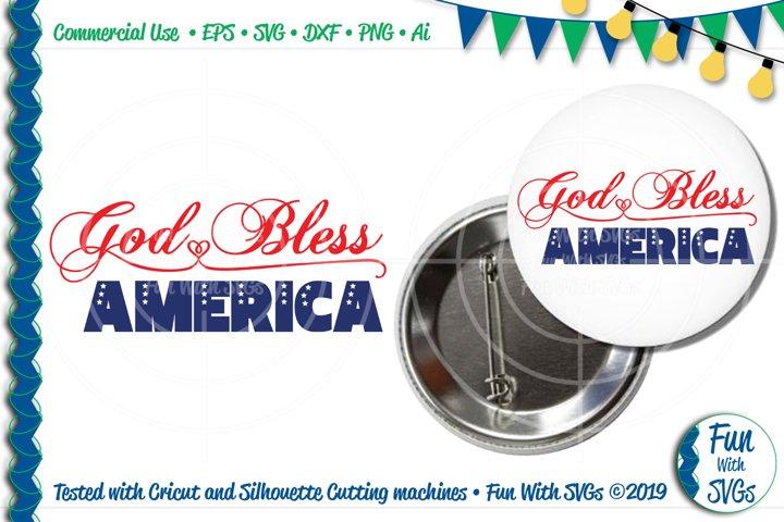 God Bless America SVG Cut File
