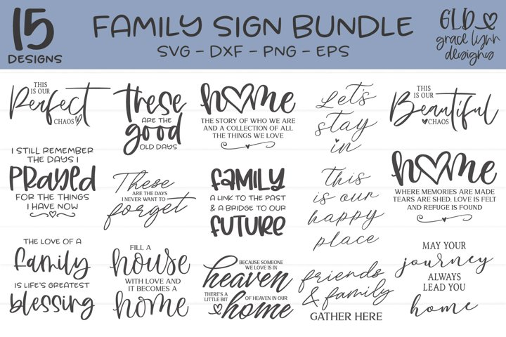 Family Sign Bundle - 15 Family Designs