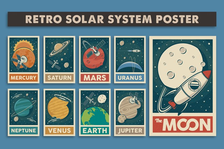 Retro Solar System Poster