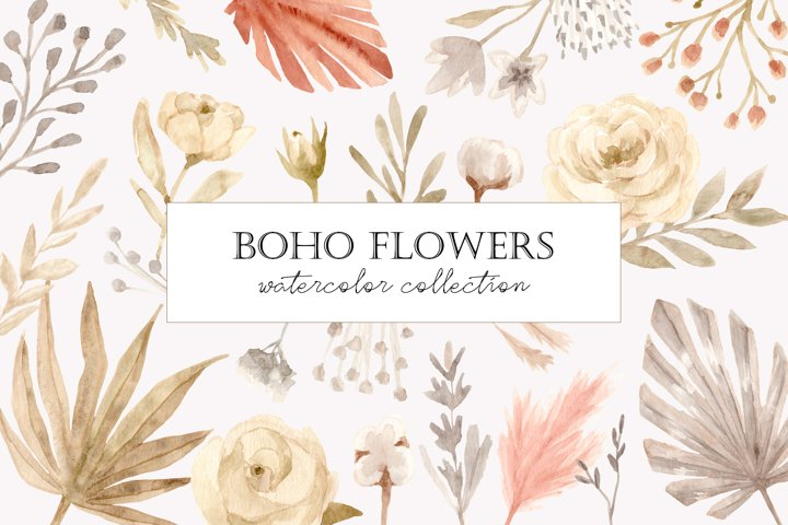 Boho Flowers. Watercolor Collection