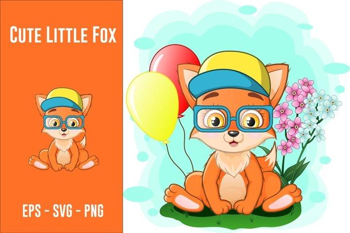 Cute little fox sitting in the grass
