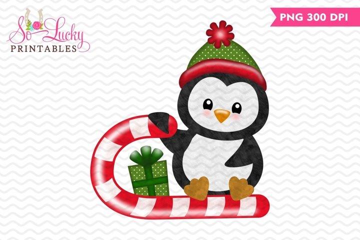 Christmas penguin watercolor printable sublimation design