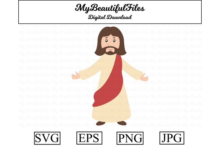 Jesus SVG - Cartoon Jesus SVG, EPS, PNG and JPG