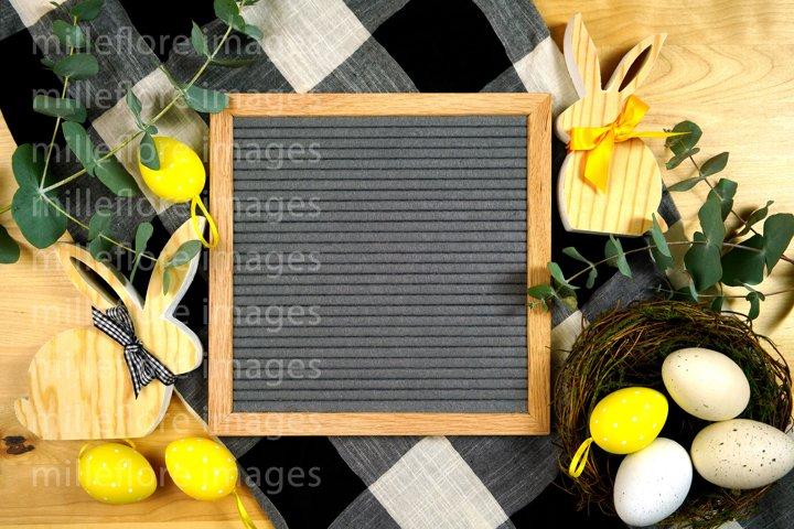 Easter Farmhouse Letterboard Flatlay Mockup Styled JPEG Phot