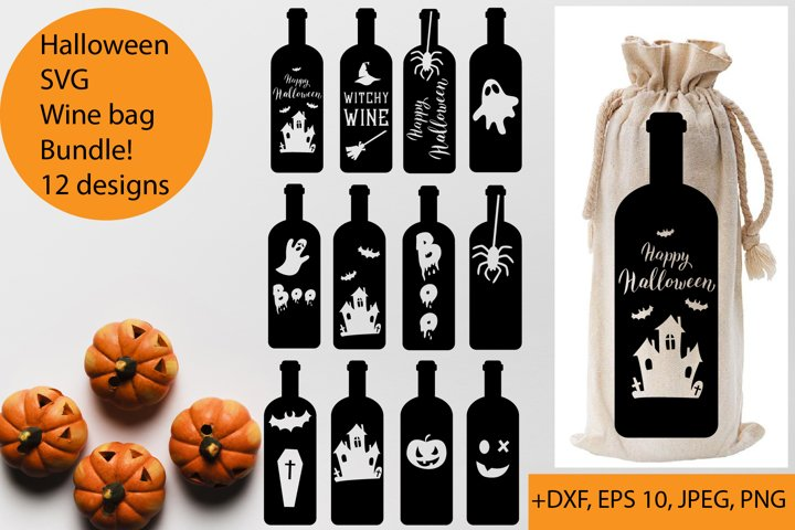 Halloween wine bag SVG Bundle