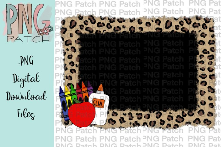 Torn Edge Leopard Print Frame with School Supplies, PNG File
