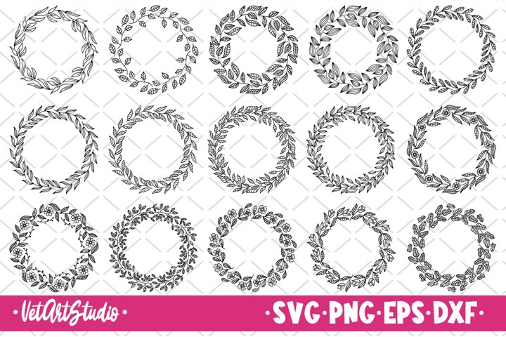 15 Floral round frames svg, Laurel wreath bundle