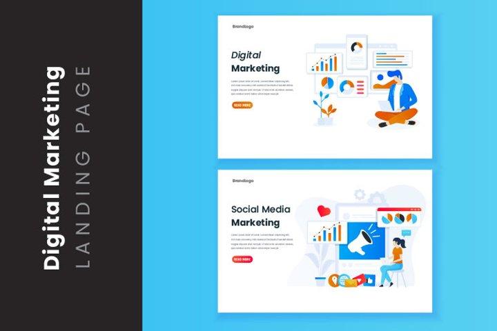 Illustration of digital marketing analyst landing page