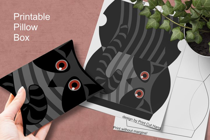 Printable Raccoon Pillow Box Small Favor Packaging PNG PDF