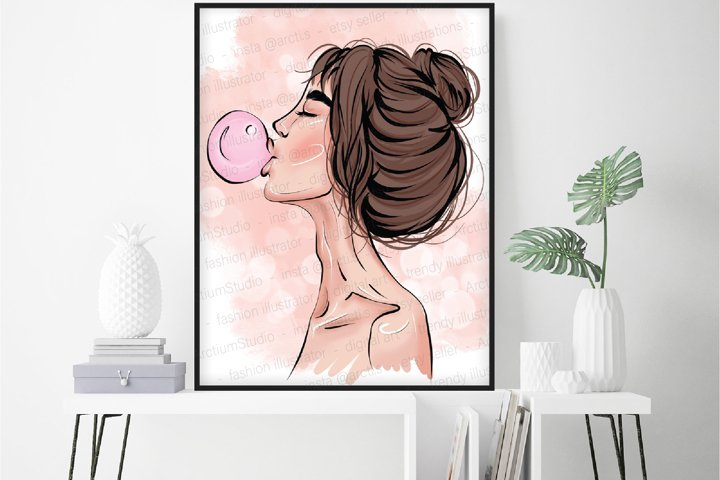 Bubble gum lady, Hair Stylist Art, fashion glamour wall art