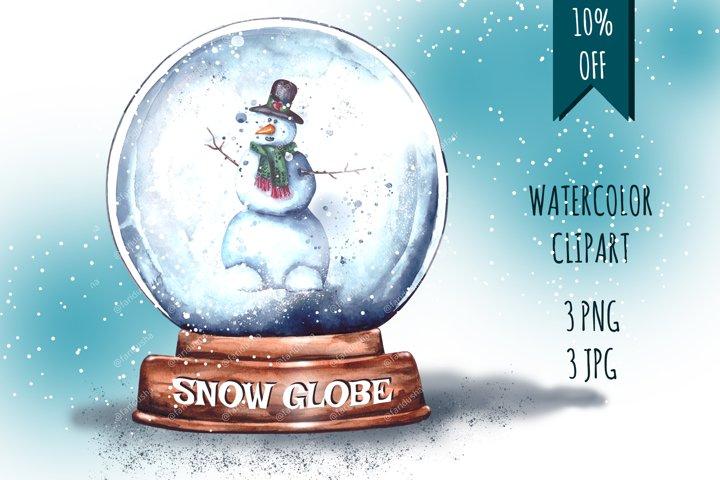 Christmas Snow Globe Snowman Sublimation Watercolor set