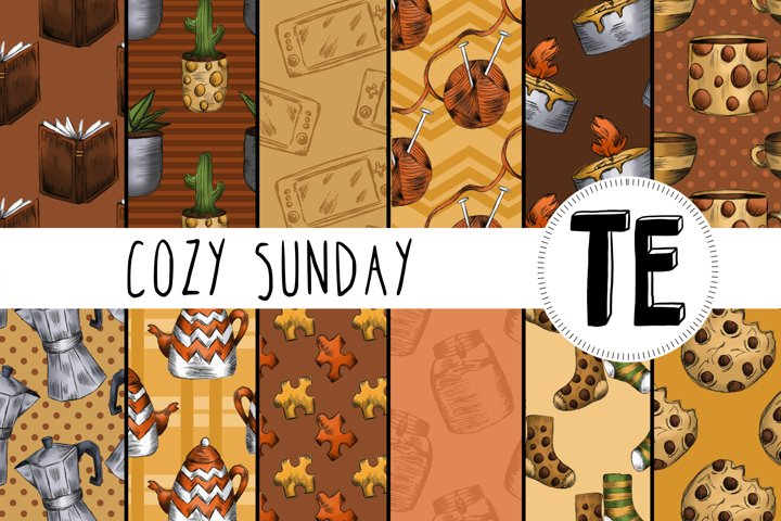 12 Cozy Sunday Seamless Patterns - Stay Home Digital Papers
