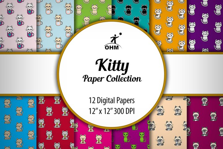 KITTY PAPER COLLECTION | Digital Paper, Original Design