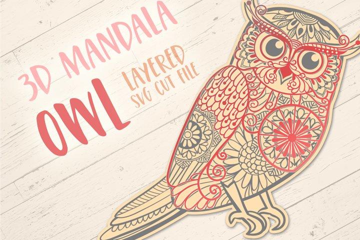 3D Mandala Owl | 3D Papercut SVG