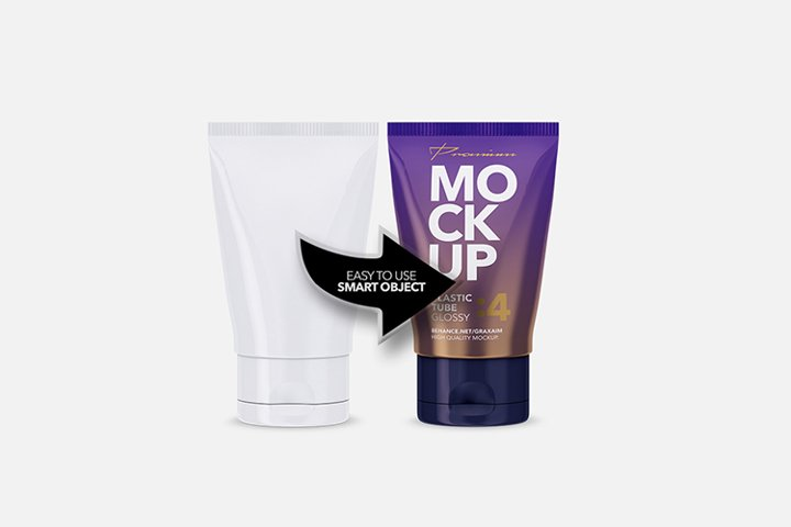 Glossy Plastic Cosmetic Tube Mockup - Front View - 04 example 3