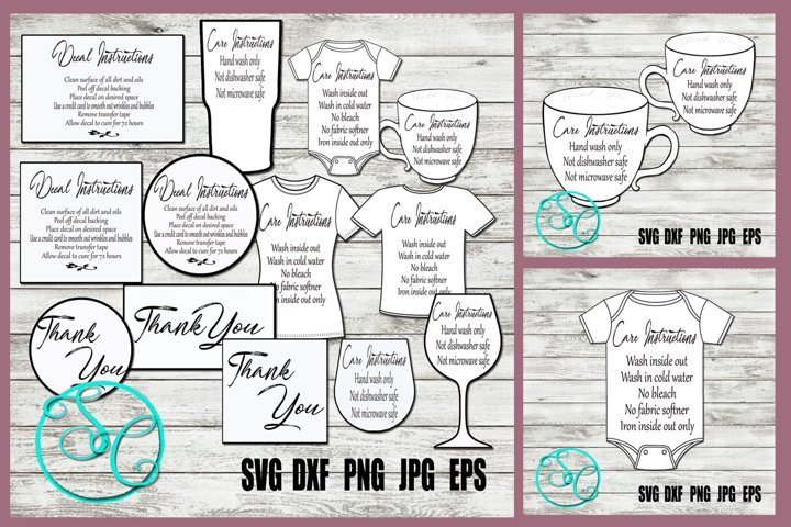 SVG Care Card Bundle and Thank You SVG Cards