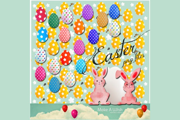 Easter elements, Easter is Here, Easter Bunny, Easter Eggs