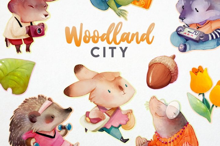 Woodland animals clipart cute baby stickers kawaii flowers