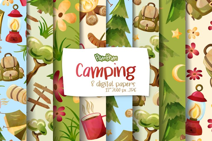 Camping Digital Papers
