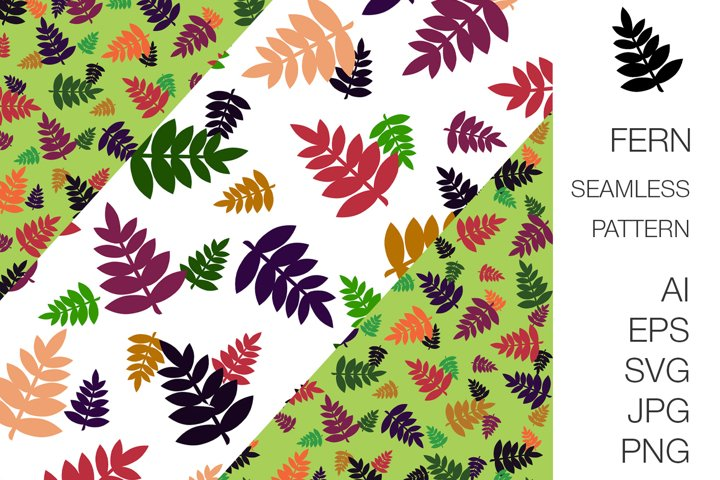 Fern foliage seamless pattern & border