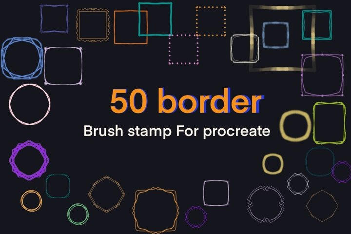 Procreate brushes stamp 50 border