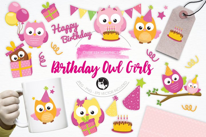 Birthday Owls Girls  graphics and illustrations - Free Design of The Week Font