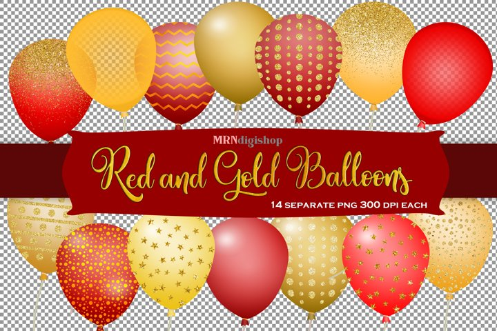 Balloons Clipart - Gold and Red Glitter and Foils