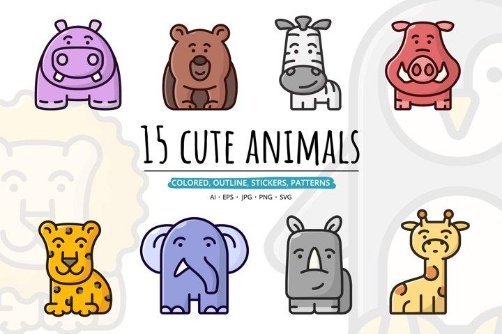 15 cute animals set clipart