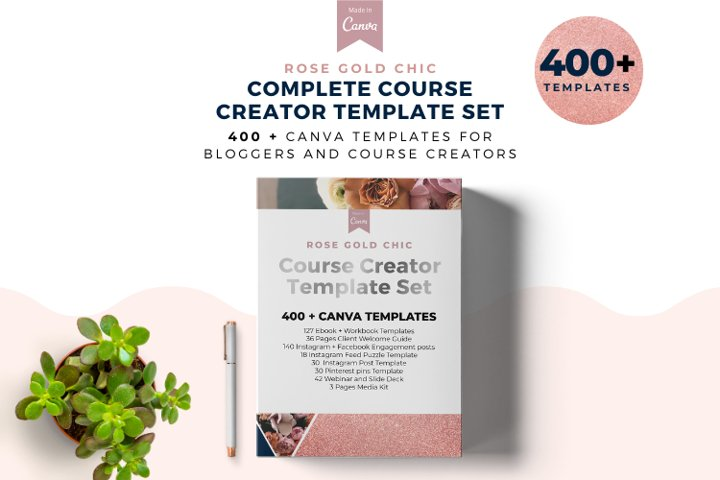 Rose Gold Chic Complete Template Set, Ebook Template Kit