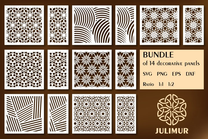 Bundle of decorative panel CNC laser cutting template SVG