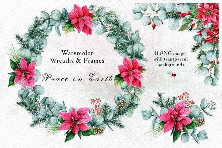 Watercolor Christmas wreath, border, Arrangement, Winter PNG