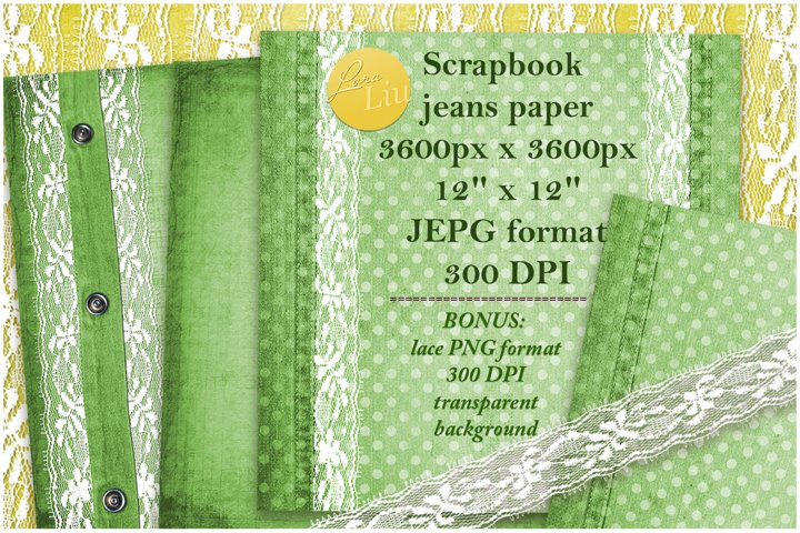 Green set jeans paper with lace