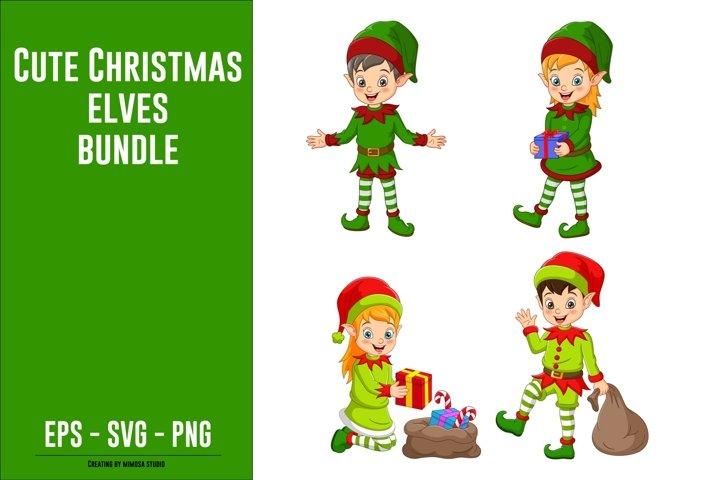 Cute Christmas Elves Clipart Bundle
