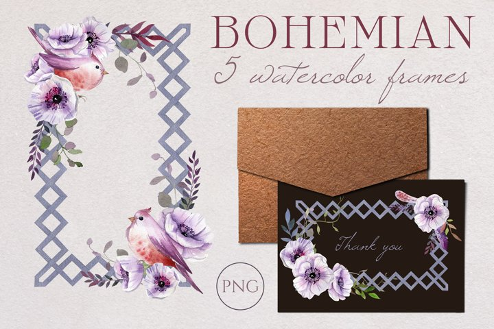 Watercolor Boho Dusty Floral Geometric Frames Clipart.