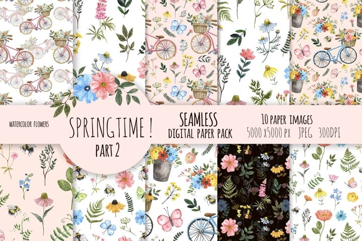 Spring Floral Digital Papers Watercolor Cute Pattern