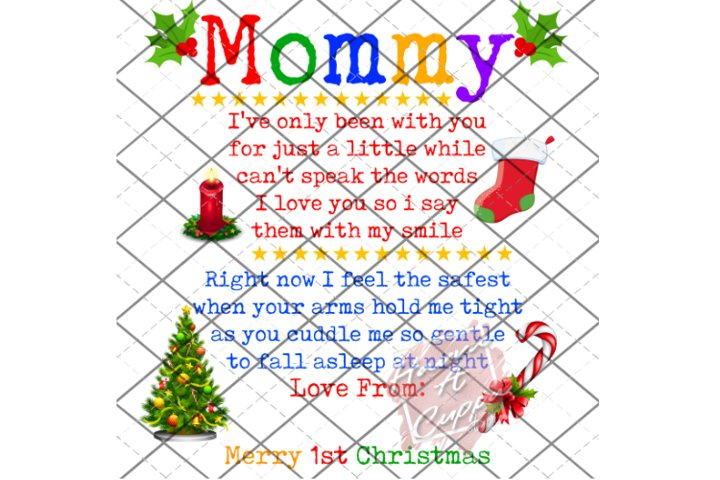 Mommy 1st Christmas, PNG instant Downlaod