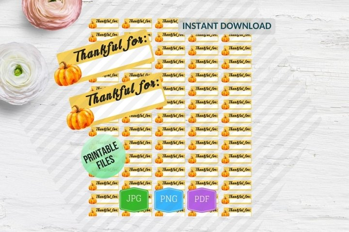 Thankful for planner stickers printable Thanksgiving